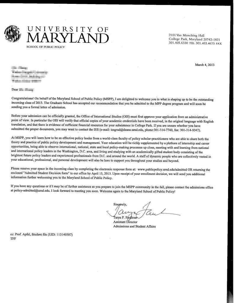 offer letter: university of maryland