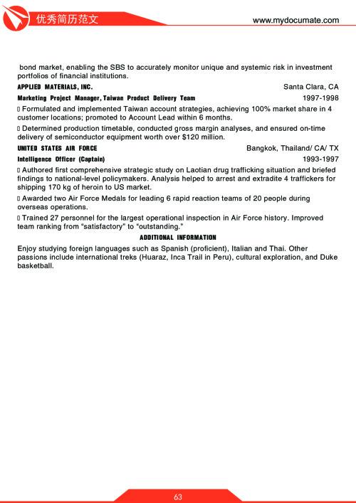 优秀简历模板(沃顿商学院1) 第63页
