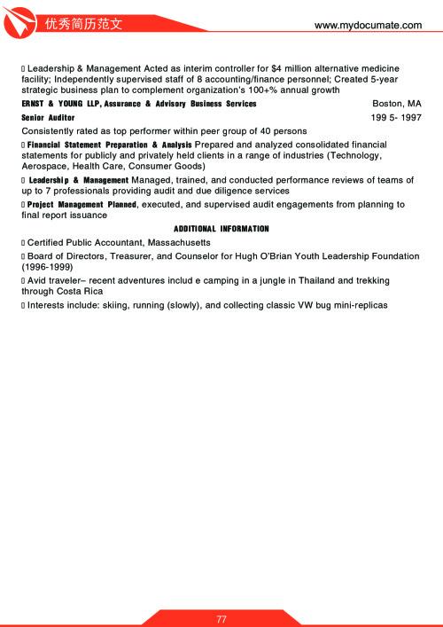 优秀简历模板(沃顿商学院1) 第77页