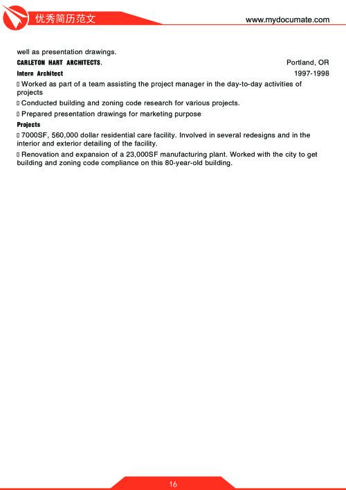 优秀简历模板(沃顿商学院2) 第16页