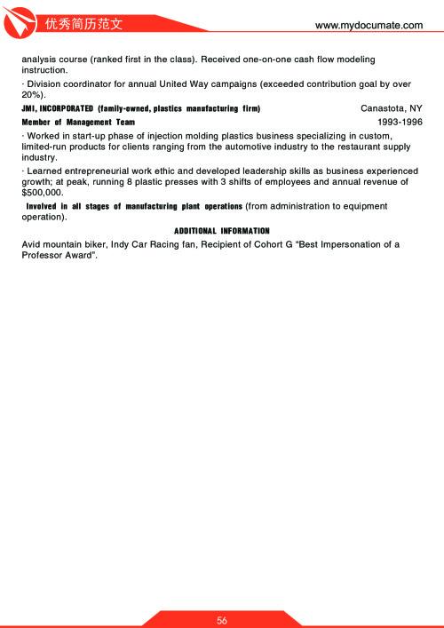 优秀简历模板(沃顿商学院2) 第56页