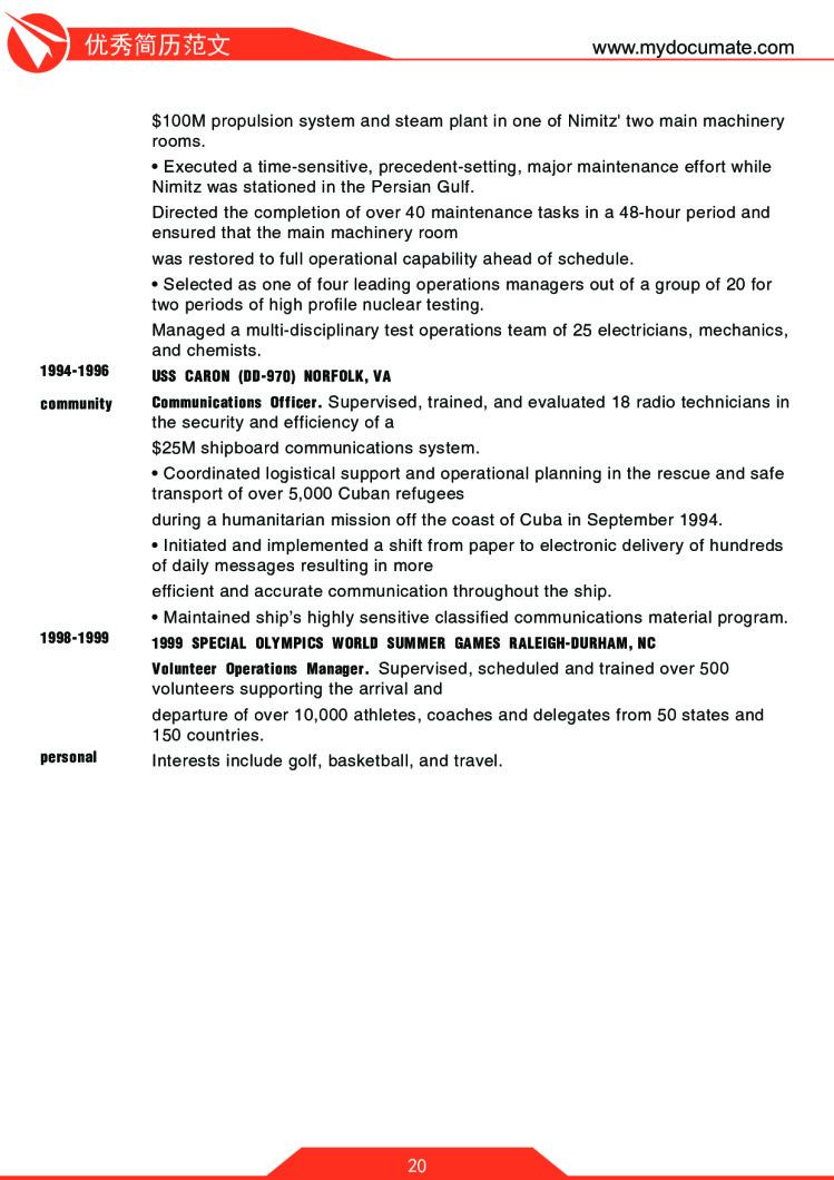 优秀简历模板(哈佛商学院) 第20页