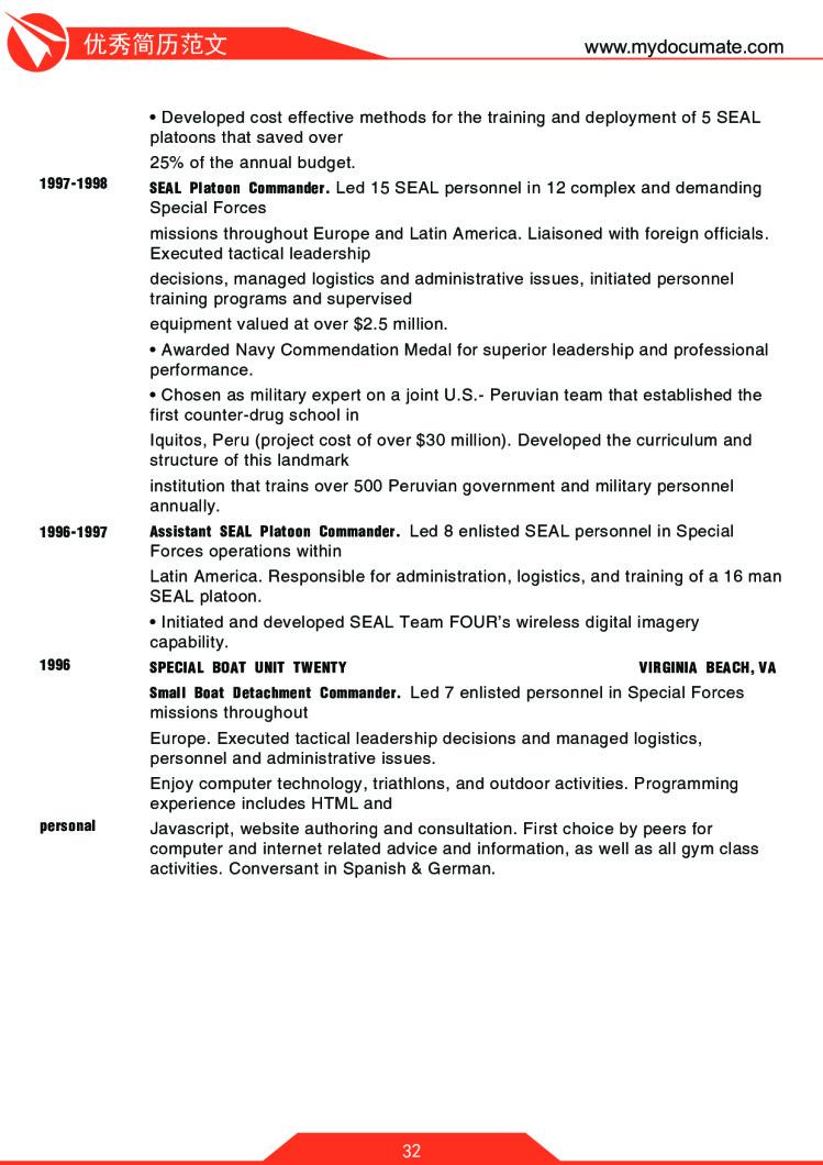 优秀简历模板(哈佛商学院) 第32页