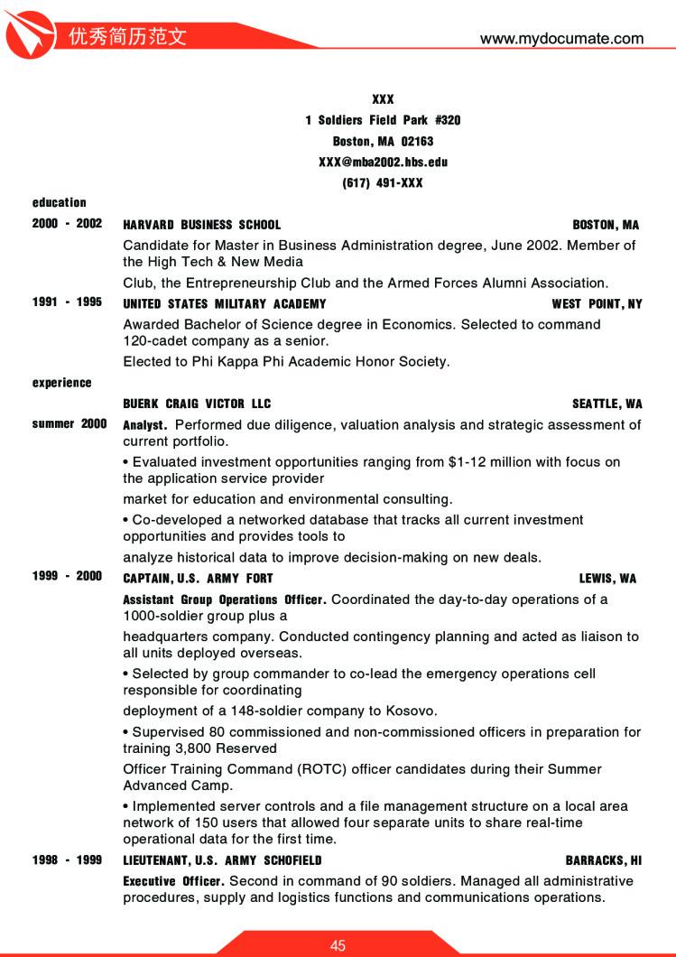 优秀简历模板(哈佛商学院) 第45页